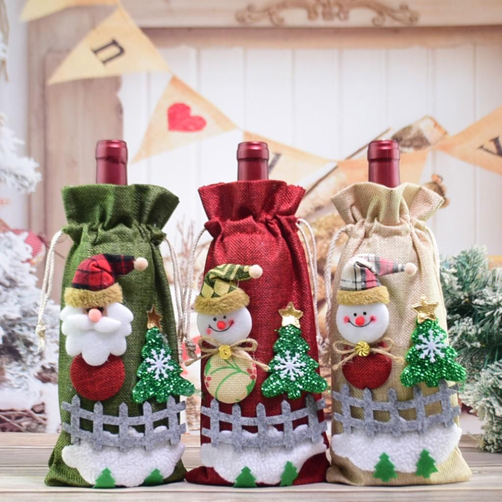 Sprie/ßen Babbo Bottiglie di Vino Sacchetti Vestito 2Pcs Natale Rosso Copertura della Bottiglia di Vino Sacchetti per Bottiglie di Champagne Cena al Tavolo Decorazioni Festa a Casa Decori
