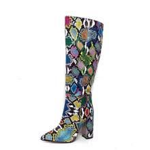 Band Desainer Faux Kulit Wanita Sepatu Bot Setinggi Lutut Menunjuk Toe Sepatu Boot Wanita Panjang Blok Chunky Sepatu Hak Tinggi Aprikot Hitam coklat(China)