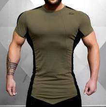 メンズファッション tシャツ春夏新レジャーシャツフィットネスボディービル長袖男性人格スリム tシャツトップス服(China)