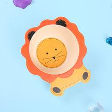 Baby Kids Natural Bamboo Fiber Bowls Cute Cartoon Animal Dishes Baby Feeding Tableware Children Infant Toddler Portable Plates(China)