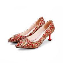 Meotina wysokie obcasy damskie czółenka jedwabne kryształowe kociaki szpilki ślubne mieszane kolory szpiczaste buty z palcami damskie czerwone duże rozmiary 43(China)
