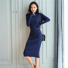 קוריאני אופנה שמלת סוודר נשים לסרוג סוודרים שמלות אלגנטי אישה גולף סוודר שמלת אישה למתוח סוודרים שמלות(China)