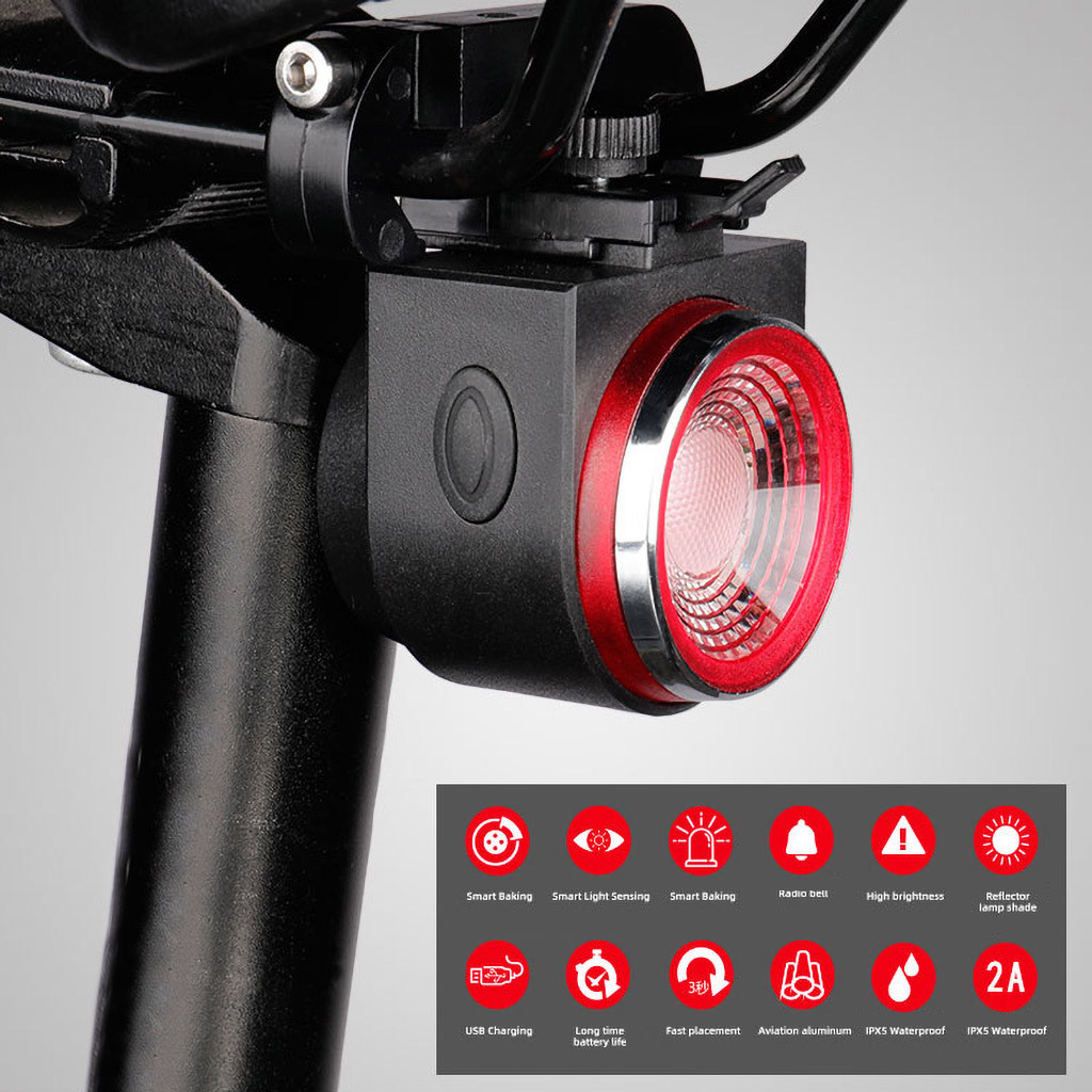 Smart Bike Tail Light,Anti-Theft Alarm,Rechargeable Bike Finder with Remote