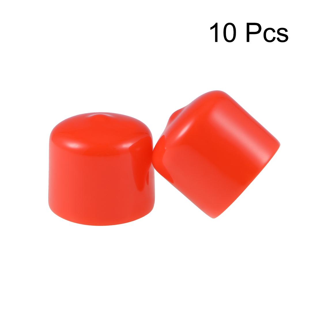 uxcell 5Pcs 24mm Inner Dia PVC Flexible Vinyl End Cap Screw Thread Protector Cover Red