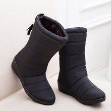 Kadın çizmeler orta buzağı çizmeler kadınlar için kış botları saçak kar çizmeler kadın ayakkabıları kış su geçirmez patik aşağı takozlar ayakkabı(China)