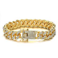 Hip Hop Bling Iced Out całkowicie wyłożone kryształkami Pave męska bransoletka złoto srebro Miami kubański Link Chain bransoletka naszyjnik dla mężczyzn biżuteria(China)
