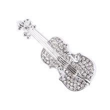 Elegante Forma di Chitarra Spilla Spilli Dello Smalto del Metallo Violino Spille per le Donne Degli Uomini Vestito T-Shirt Risvolto Spille Del Partito Dei Monili Accessori(China)