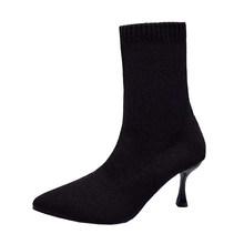 Chaussettes bottes femme pointu Stiletto milieu bottes tricoté élastique talon bottes Kaus Kaki Hak Tinggi running Faux daim bottes minces(China)