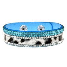 Skórzane wielowarstwowe dżetów szerokie bransoletki i Bangles kobiety dziewczyny Handmade Charms kryształ bransoletka nadgarstek Party biżuteria prezent(China)