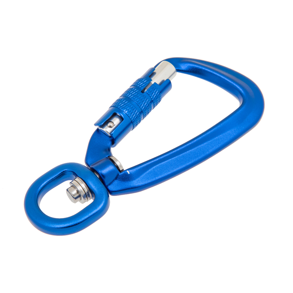 Locking Carabiner with Swivel Rotating Ring for Outdoor Climbing Keychain Pet Leash Hook Max Load 500KG Climbing Accessories