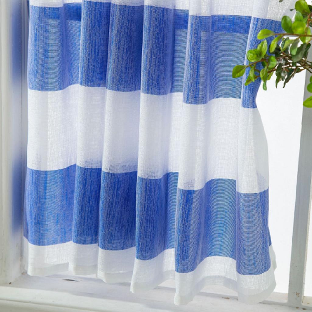 Striped Bathroom Short Valance Rod Pocket Curtains Kitchen Window Treatment Decor