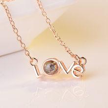 100 języków kocham cię projekcja naszyjnik romantyczny naszyjnik miłość miłość naszyjniki ślubne(China)