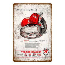 Texaco Benzin Metall Zeichen Caltex RPM Motor Öl Poster Wand Aufkleber Vintage Kunst Malerei Plaque Gas Station Shop Garage Decor(China)