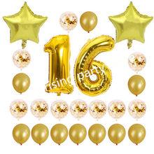 24 pçs/set 16 21 30 40 50 60th Feliz Aniversário Rose Gold Star Confetti 40 polegada Número Um Balão de alumínio Aniversário decoração do partido Suprimentos(China)