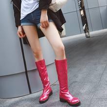 EGONERY dễ thương Nam Nữ tím xanh dương hoa hồng đỏ bằng sáng chế da đầu gối-Giày cổ cao thời trang thu đông 2019 Đi Xe Máy mùa đông giày(China)