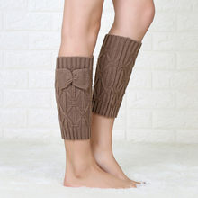 Vrouwen Strik Been Kromtrekken Gebreide Boot Cover Sokken Pure Kleur Wollen Lange Mode Leisure Zachte Huid Comfortabel Duurzaam(China)
