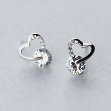 Trusta 2018 100% 925 bijoux en argent Sterling mode mignon minuscule 8mm X 7mm creux coeur boucles d'oreilles cadeau pour filles enfants dame DS514(China)