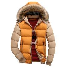 남성 겨울 자켓 모피 후드 파커 남성 따뜻한 겉옷 솔리드 두꺼운 코트 streetwear 자켓 windproof overcoat 2019 남성 브랜드(China)