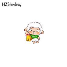 2019 Baru Domba Lucu Akrilik Kerah Pin Putih Pink Domba Kerah Pin Bros Perak Epoxy Broochs Hadiah(China)