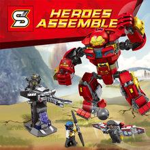 Os Vingadores Super-heróis Homem De Ferro Série Legoed Modelo Kit de Montagem de Blocos de Construção DIY Educação Brinquedos Presentes de Natal(China)