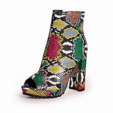 Donne Zip Peep Toe Leopard Caviglia Stivali Autunno Nuove Signore Del Modello Del Serpente Della Piattaforma Spessa Tacchi Alti Femminile della Molla di Modo Scarpe(China)