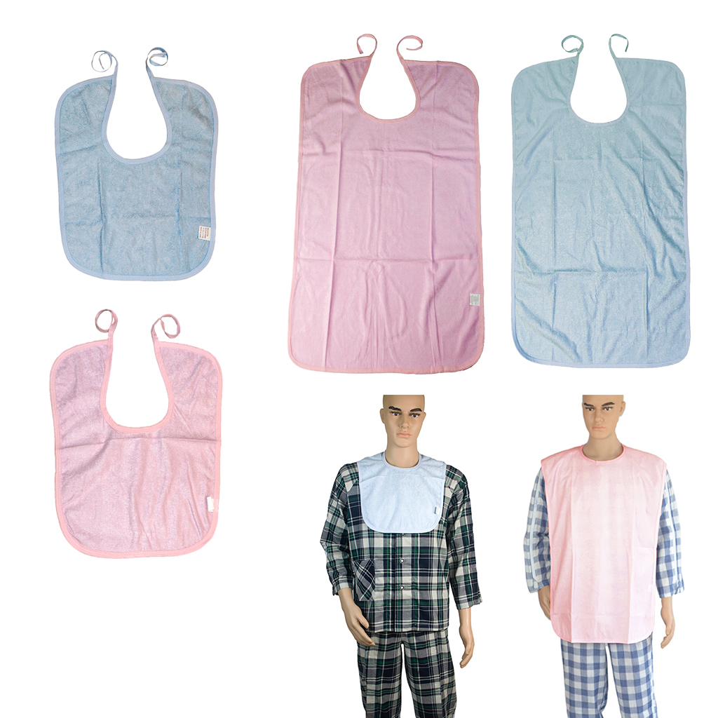 Short Waterproof Washable Reusable Adults Disability Bib Mealtime Clothing Protector Apron Soft Cotton Material, 40x30cm