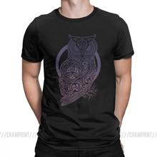 Celtic Owl Viking Valhalla Odin T Shirt Men Classic Tops Short Sleeve Vintage T-Shirts Round Neck Cotton Tees Plus Size(China)