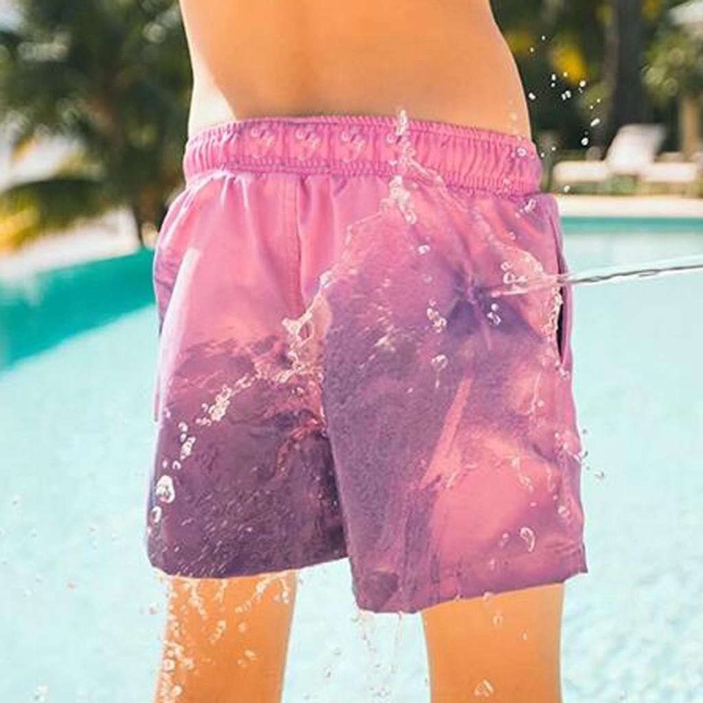 Bingerboy Temperature-Sensitive Color-Changing Beach Men Swimming Pants Sport Summer Swimsuit Surfing Swim Trunks Shorts