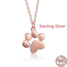 BAMOER offre spéciale argent et or couleur mignon animaux empreintes chien chat empreintes patte colliers pendentifs femmes argent bijoux SCN275(China)