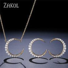 ZAKOL קלאסי ירח צורת תכשיטי סטי זהב לבן עם זעיר CZ סלול תליון שרשרת & Stud עגילים לנשים FSSP3002(China)