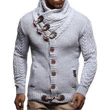 스웨터 남자 캐주얼 터틀넥 스웨터 남자 가을 슬림 맞는 긴 소매 단추 망 스웨터 니트 캐시미어 울 풀 옴므(China)