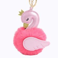 Pompons bonito Cisne Chaveiros Para A Mulher Saco Carro Chaveiro Bola de Pêlo de Coelho De Pelúcia Fofo Flamingo Chaveiro Pingente de Presente Da Jóia(China)