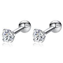 ELESHE CZ AAA Zircon Crystal Round Small Stud Earrings Wedding 925 Sterling Silver Earring for Women Girls Fashion Jewelry Gift(China)