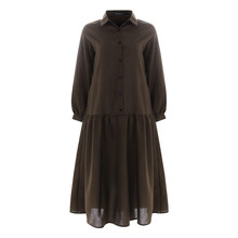 סתיו נשים בציר חולצה שמלת 2020 Celmia מזדמן ארוך שרוול כפתורי ראפלס Midi שמלת מוצק Loose המפלגה Vestidos בתוספת גודל(China)