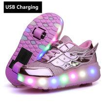 ילדי אחד שני גלגלי זוהר זוהר סניקרס זהב ורוד Led אור רולר סקייט נעלי ילדים Led נעלי בני בנות USB טעינה(China)