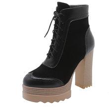 Morazora 2020 Mới Nhất Mùa Đông Giày Bốt Nữ Cao Gót Giày Đế Zip Phối Ren Thời Trang Đảng Giày Người Phụ Nữ Mắt Cá Chân Giày(China)