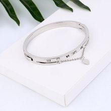 Hot luksusowe różowe złoto bransoletki ze stali nierdzewnej bransoletki kobiet serce na zawsze miłość marka Charm bransoletka dla kobiet znani biżuteria(China)