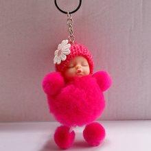 FDLK الصغيرة زهرة الطفل دمية وهمية الفراء منفوش سلسلة مفاتيح على شكل كرة حقيبة حلقات المفاتيح مفتاح السيارة قلادة الكرتون الحلي هدايا(China)