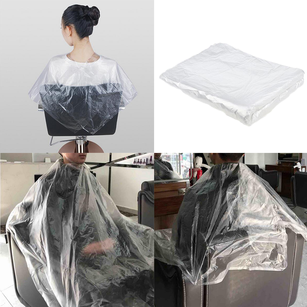 100 Pcs Waterproof Disposable Hairdressing Capes PE Hair Cutting Cape  Barber Transparent Hairdressing Cloth Apron 130 x 90cm