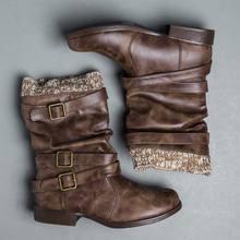 WENYUJH 2019 zapatos de invierno botas de mujer nueva hebilla de lana decoración sólida de cuero de media pantorrilla gruesa botas de tacón alto zapatos de mujer calientes(China)