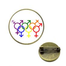 Rainbow LGBT เข็มกลัดเกย์เลสเบี้ยน LGBT Pins Rainbow FLAG Bi Pride เข็มกลัดแก้ว Cabochon เครื่องประดับ Dropshipping ของขวัญผู้หญิง(China)