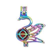 REYOW 5pcs สายรุ้งสัตว์ Swan Pearl กรงจี้น้ำมันหอมระเหย Diffuser (China)