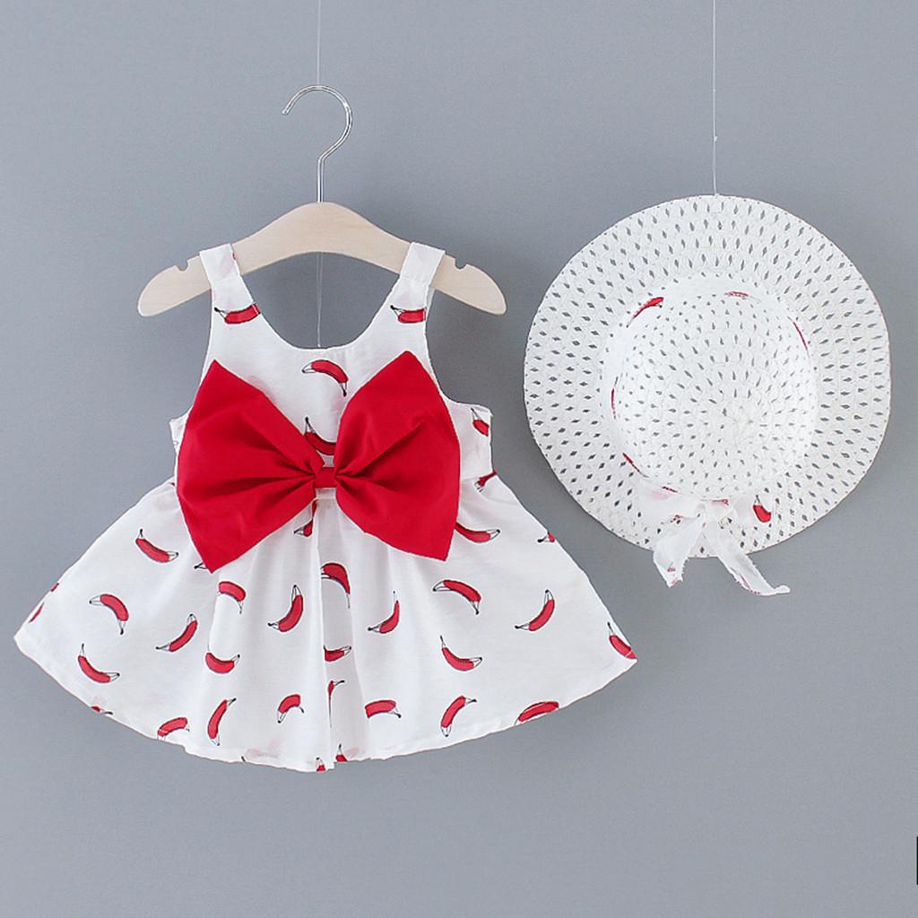 Toddler Baby Kid Girl Banana Print Sweet Cute Princess Dress Hat Outfits Clothes