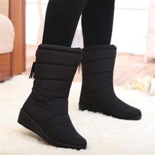 Winter Frauen Stiefel Mid-Kalb Unten Stiefel Weibliche Wasserdichte Damen Schnee Stiefel Mädchen Winter Schuhe Frau Plüsch Einlegesohle Botas mujer(China)