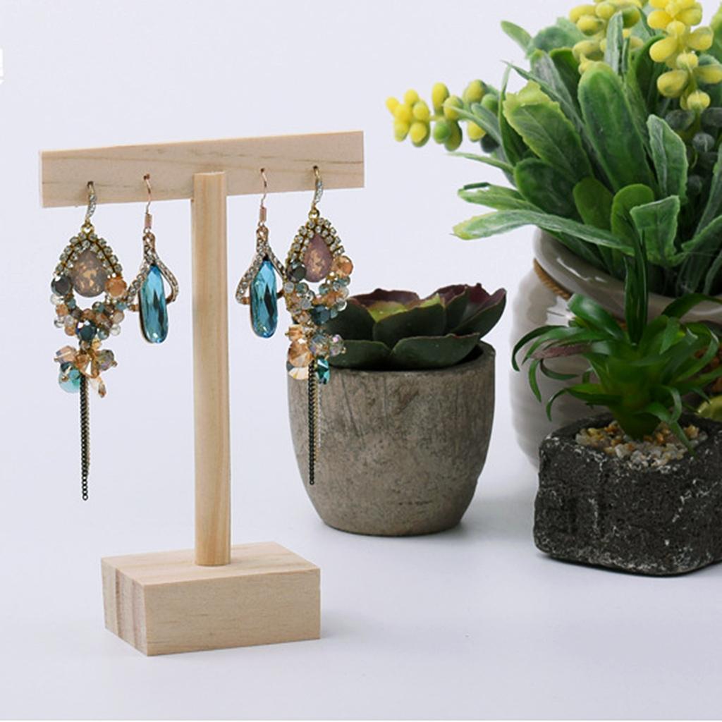 Plain Wooden Jewelry Neckalce Bracelt Earring Display Stand Holder Organizer