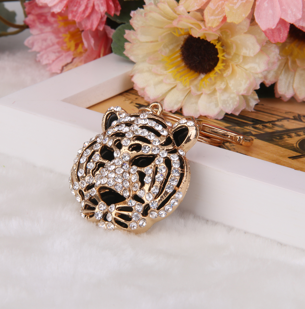 Alloy Rhinestone Charms 3D Crystal Tiger Head Design Pendant Keyring Keychain Handbag Purse DIY Car Key Decor Ornaments