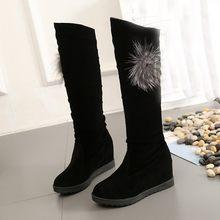 2019 Marka Kadın Kış Ayakkabı Diz Elastik Çizmeler Çizmeler Ayakkabı Seksi Orta Tüp Kama Ayakkabı Botları Motosiklet Botines mujer(China)