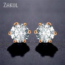 ZAKOL di Modo Rotondo della vite prigioniera di Zircon degli orecchini di Colore Bianco Dichiarazione Dell'orecchino per le Ragazze Accessori dei monili del regalo per la donna FSEP2283(China)