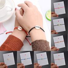 1 para bransoletka z koralików z kamienia naturalnego para Shell mężczyźni kobiety czerwona i czarna lina regulowany sznur bransoletki DIY biżuteria(China)