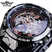 Gagnant mécanique Sport Design lunette or Montre hommes montres haut marque de luxe Montre Homme horloge hommes automatique squelette Montre(China)